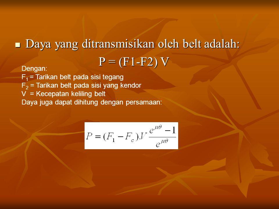 Daya yang ditransmisikan oleh belt adalah: Daya yang ditransmisikan oleh belt adalah: P = (F1-F2) V Dengan: F 1 = Tarikan belt pada sisi tegang F 2 =