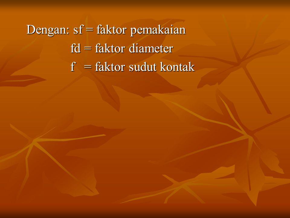 Dengan: sf = faktor pemakaian fd = faktor diameter fd = faktor diameter f = faktor sudut kontak f = faktor sudut kontak