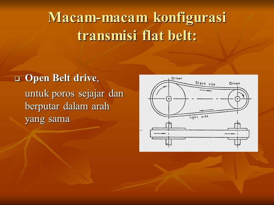 Macam-macam konfigurasi transmisi flat belt:  Open Belt drive, untuk poros sejajar dan berputar dalam arah yang sama