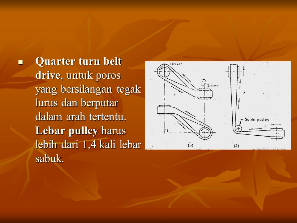 Quarter turn belt drive, untuk poros yang bersilangan tegak lurus dan berputar dalam arah tertentu. Lebar pulley harus lebih dari 1,4 kali lebar sabuk