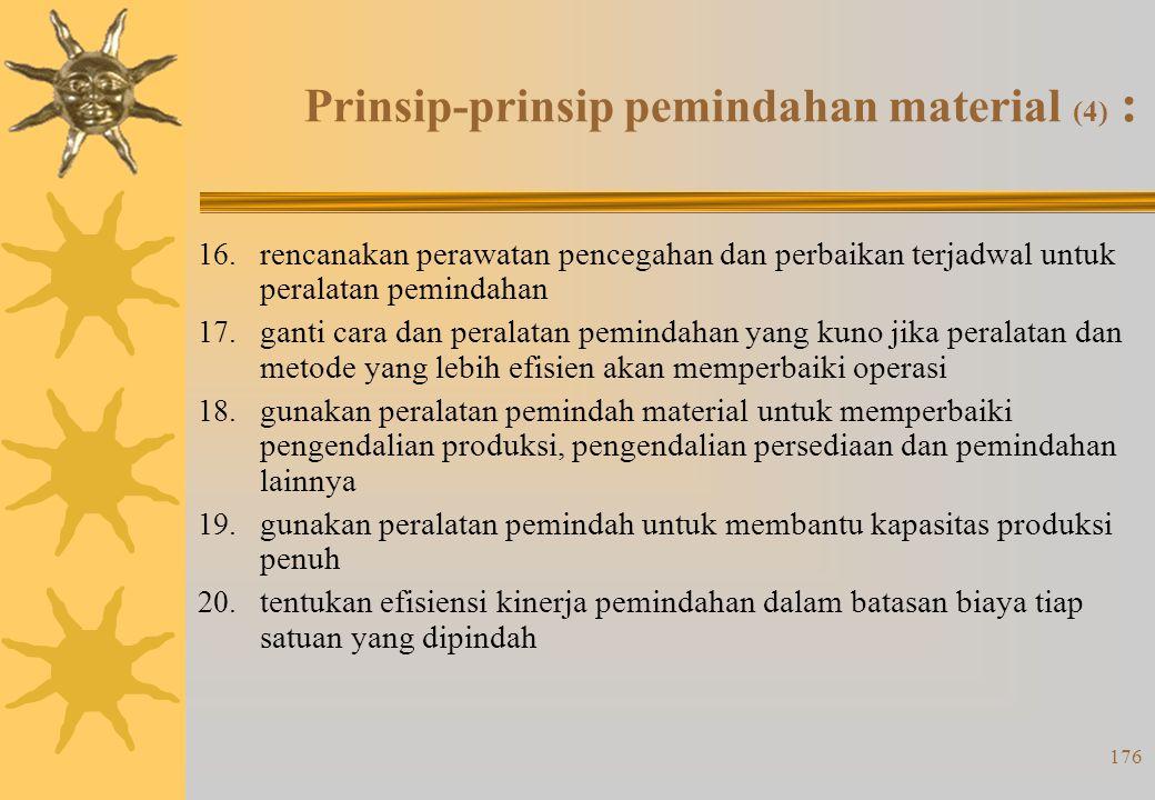175 Prinsip-prinsip pemindahan material (3) : 11. bakukan cara juga jenis dan ukuran peralatan pemindah 12. gunakan cara dan peralatan yang dapat mela