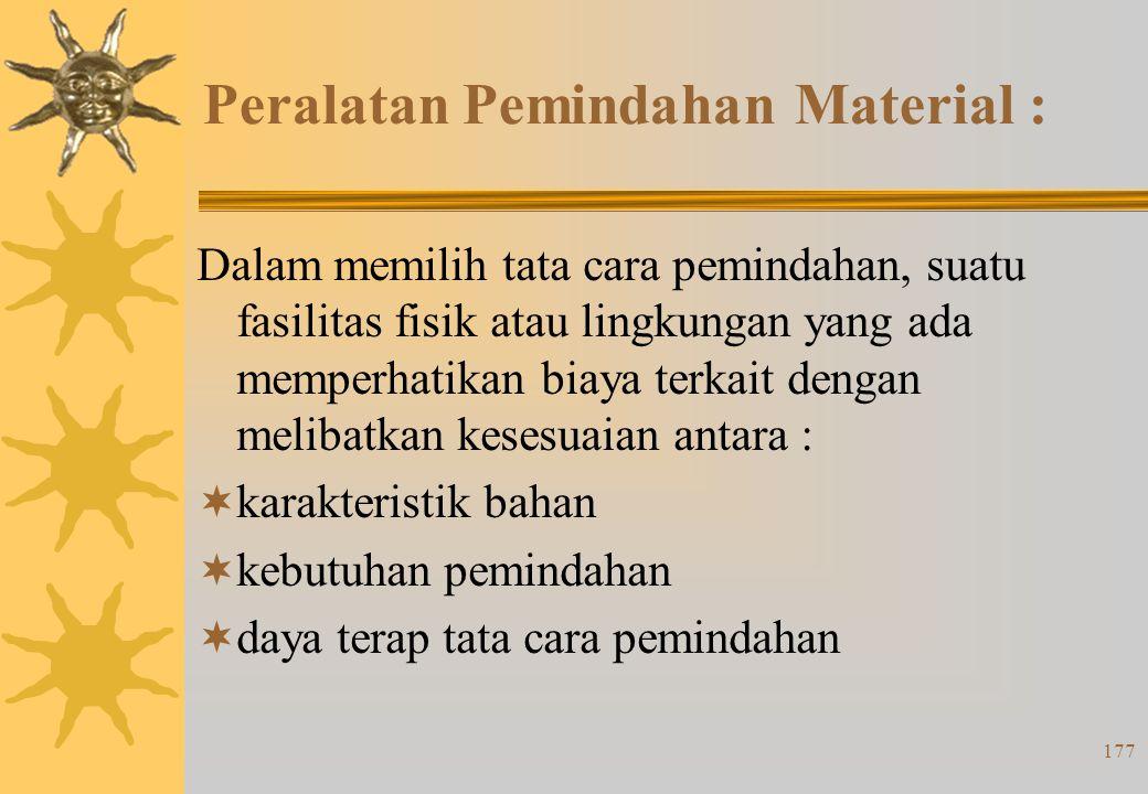176 Prinsip-prinsip pemindahan material (4) : 16. rencanakan perawatan pencegahan dan perbaikan terjadwal untuk peralatan pemindahan 17. ganti cara da