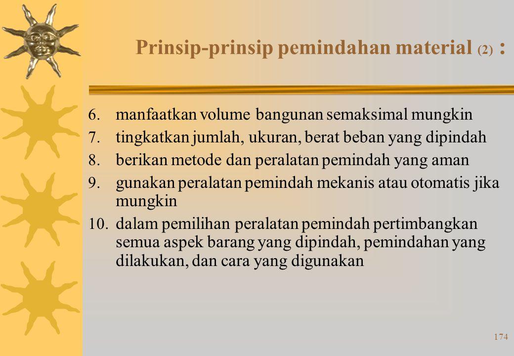 173 Prinsip-prinsip pemindahan material (1) : 1. semua kegiatan pemindahan harus direncanakan 2. rencanakan sebuah sistem yang menyatukan sebanyak mun