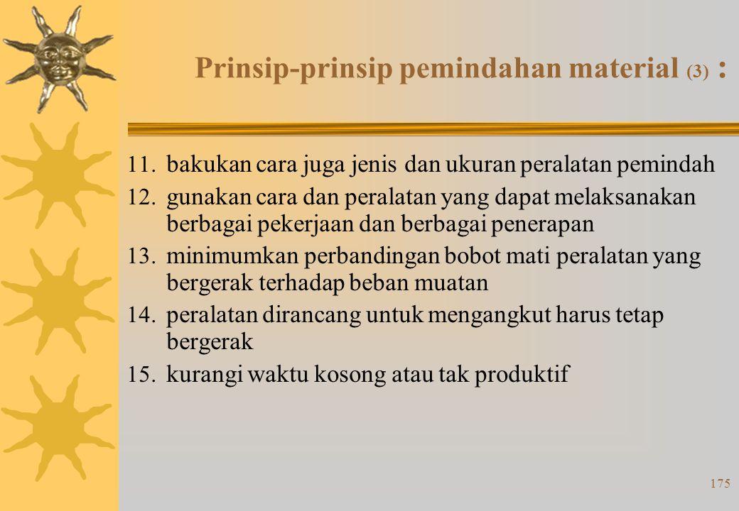 174 Prinsip-prinsip pemindahan material (2) : 6. manfaatkan volume bangunan semaksimal mungkin 7. tingkatkan jumlah, ukuran, berat beban yang dipindah