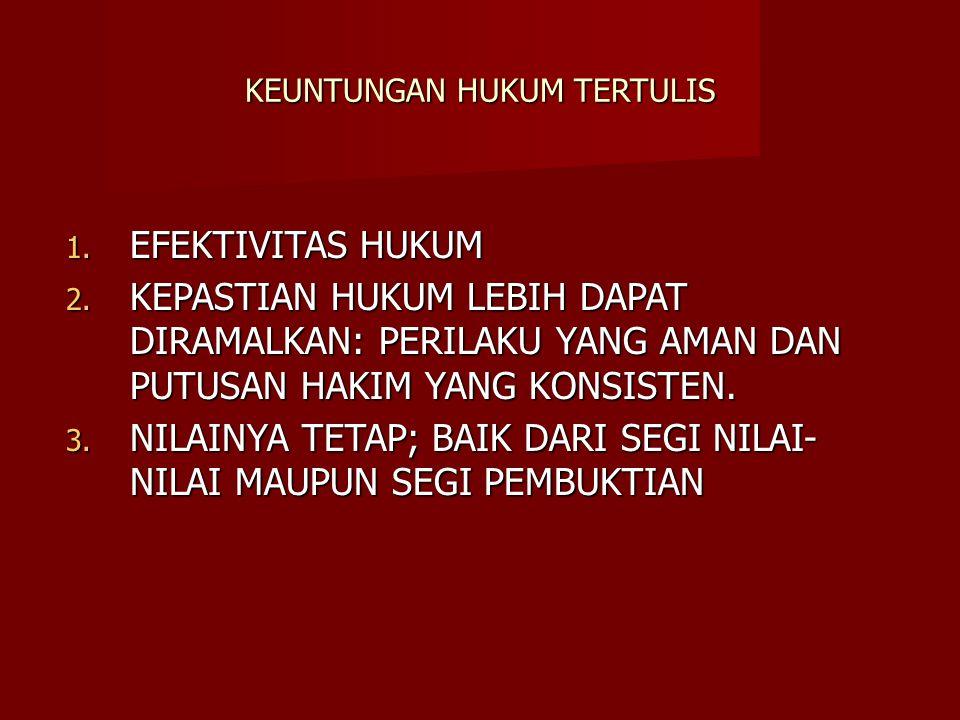 KEUNTUNGAN HUKUM TERTULIS 1. EFEKTIVITAS HUKUM 2. KEPASTIAN HUKUM LEBIH DAPAT DIRAMALKAN: PERILAKU YANG AMAN DAN PUTUSAN HAKIM YANG KONSISTEN. 3. NILA