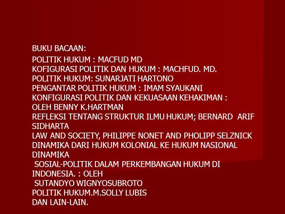 BUKU BACAAN: POLITIK HUKUM : MACFUD MD KOFIGURASI POLITIK DAN HUKUM : MACHFUD. MD. POLITIK HUKUM: SUNARJATI HARTONO PENGANTAR POLITIK HUKUM : IMAM SYA