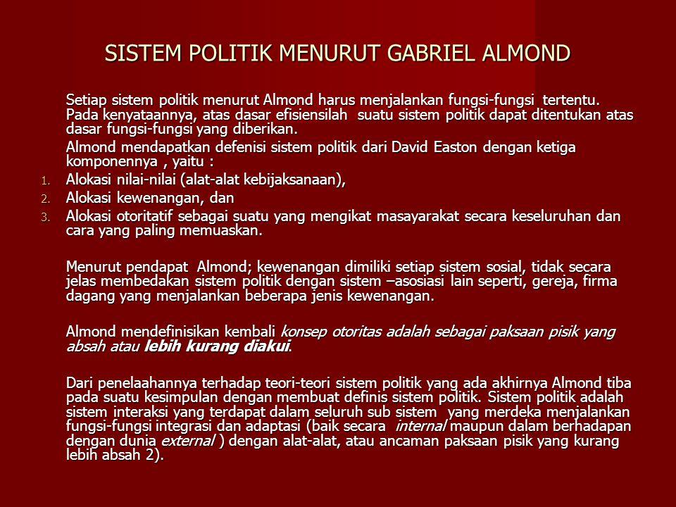 SISTEM POLITIK MENURUT GABRIEL ALMOND Setiap sistem politik menurut Almond harus menjalankan fungsi-fungsi tertentu. Pada kenyataannya, atas dasar efi