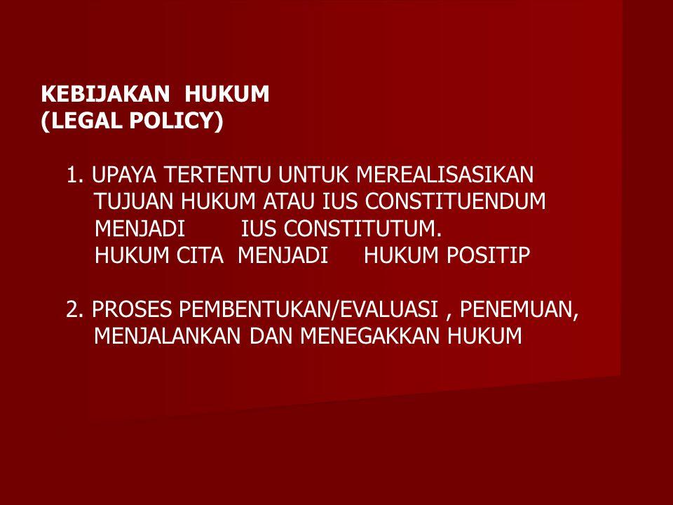 KEBIJAKAN HUKUM (LEGAL POLICY) 1.