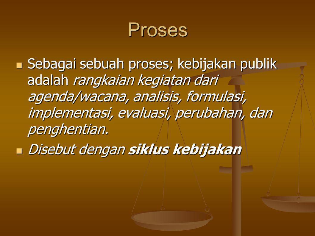 Proses Sebagai sebuah proses; kebijakan publik adalah rangkaian kegiatan dari agenda/wacana, analisis, formulasi, implementasi, evaluasi, perubahan, dan penghentian.