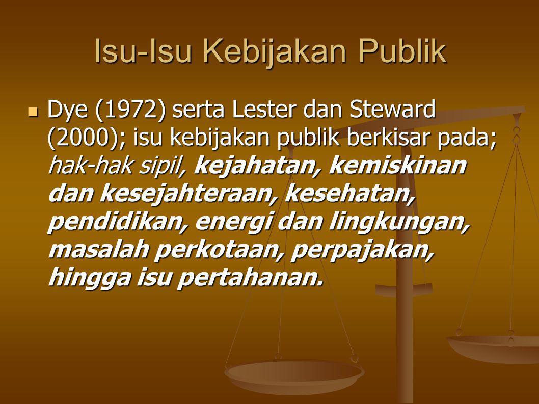 Isu-Isu Kebijakan Publik Dye (1972) serta Lester dan Steward (2000); isu kebijakan publik berkisar pada; hak-hak sipil, kejahatan, kemiskinan dan kesejahteraan, kesehatan, pendidikan, energi dan lingkungan, masalah perkotaan, perpajakan, hingga isu pertahanan.