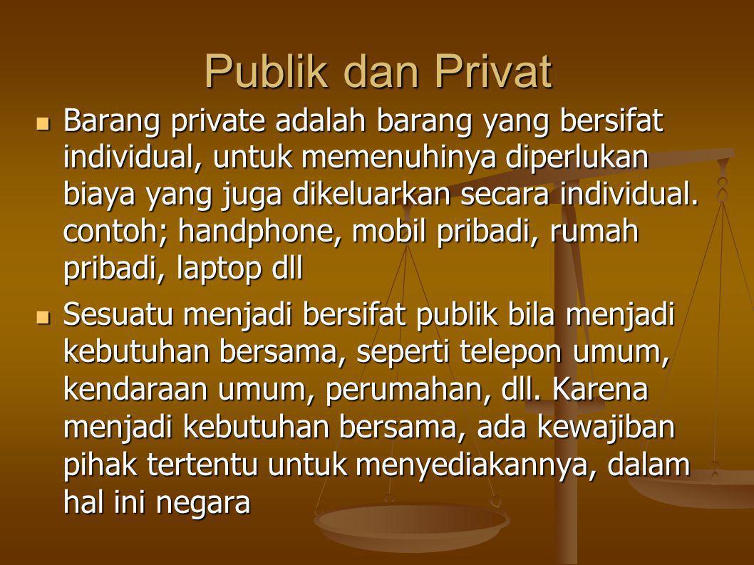 Publik dan Privat Barang private adalah barang yang bersifat individual, untuk memenuhinya diperlukan biaya yang juga dikeluarkan secara individual.