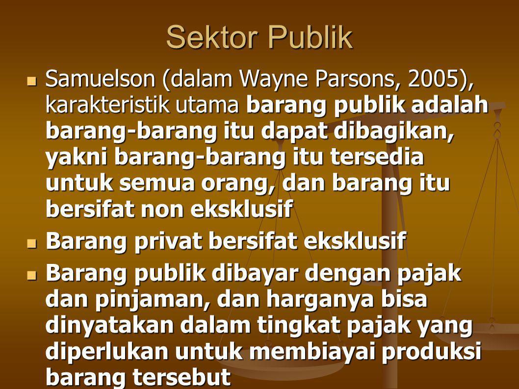 Sektor Publik Samuelson (dalam Wayne Parsons, 2005), karakteristik utama barang publik adalah barang-barang itu dapat dibagikan, yakni barang-barang itu tersedia untuk semua orang, dan barang itu bersifat non eksklusif Samuelson (dalam Wayne Parsons, 2005), karakteristik utama barang publik adalah barang-barang itu dapat dibagikan, yakni barang-barang itu tersedia untuk semua orang, dan barang itu bersifat non eksklusif Barang privat bersifat eksklusif Barang privat bersifat eksklusif Barang publik dibayar dengan pajak dan pinjaman, dan harganya bisa dinyatakan dalam tingkat pajak yang diperlukan untuk membiayai produksi barang tersebut Barang publik dibayar dengan pajak dan pinjaman, dan harganya bisa dinyatakan dalam tingkat pajak yang diperlukan untuk membiayai produksi barang tersebut