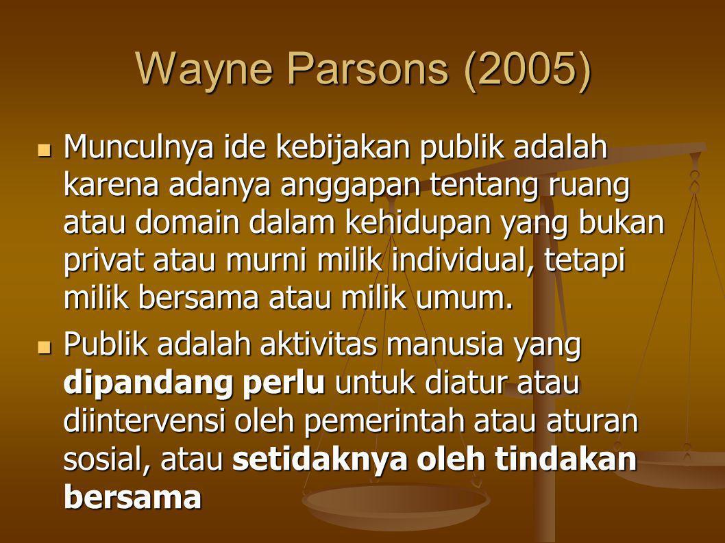 Wayne Parsons (2005) Munculnya ide kebijakan publik adalah karena adanya anggapan tentang ruang atau domain dalam kehidupan yang bukan privat atau murni milik individual, tetapi milik bersama atau milik umum.