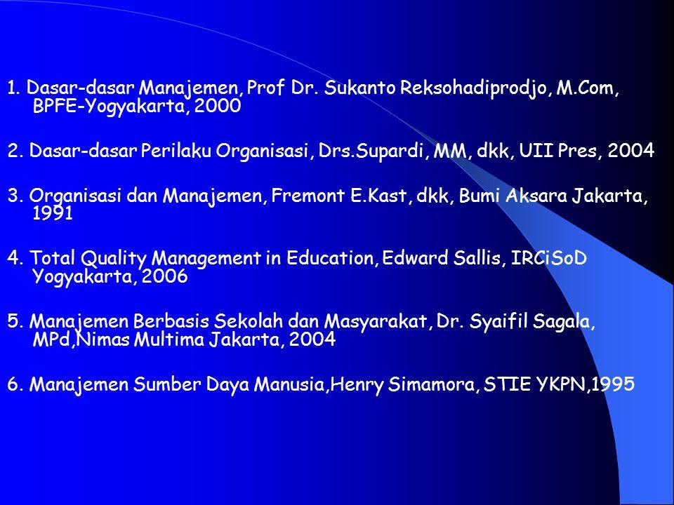 Referensi : 1.Dasar-dasar Manajemen, Prof Dr.
