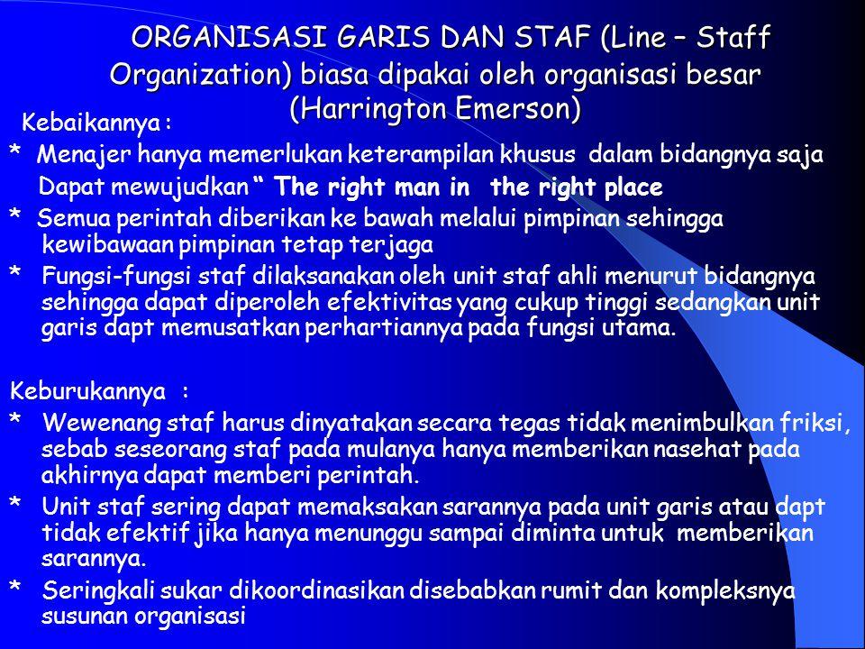 BENTUK-BENTUK ORGANISASI ORGANISASI GARIS (Line Organization) B entuk organisasi tertua dan sederhana (Hanry Payol) Kebaikannya : * Garis tanggung jaw