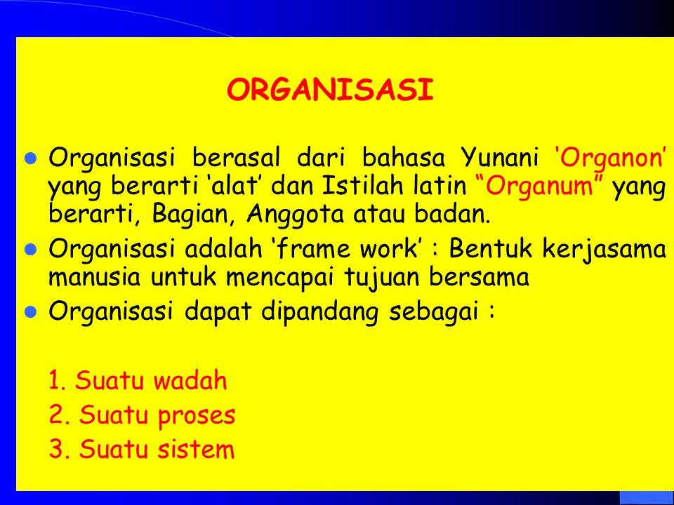 Organisasi berasal dari bahasa Yunani 'Organon' yang berarti 'alat' dan Istilah latin Organum yang berarti, Bagian, Anggota atau badan.