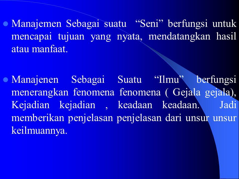 1. Dalam Encylopedia of The Social Sciences dikatakan bahwa Manajemen adalah Suatu proses dengan proses mana pelaksanaan suatu tujuan tertentu diselen