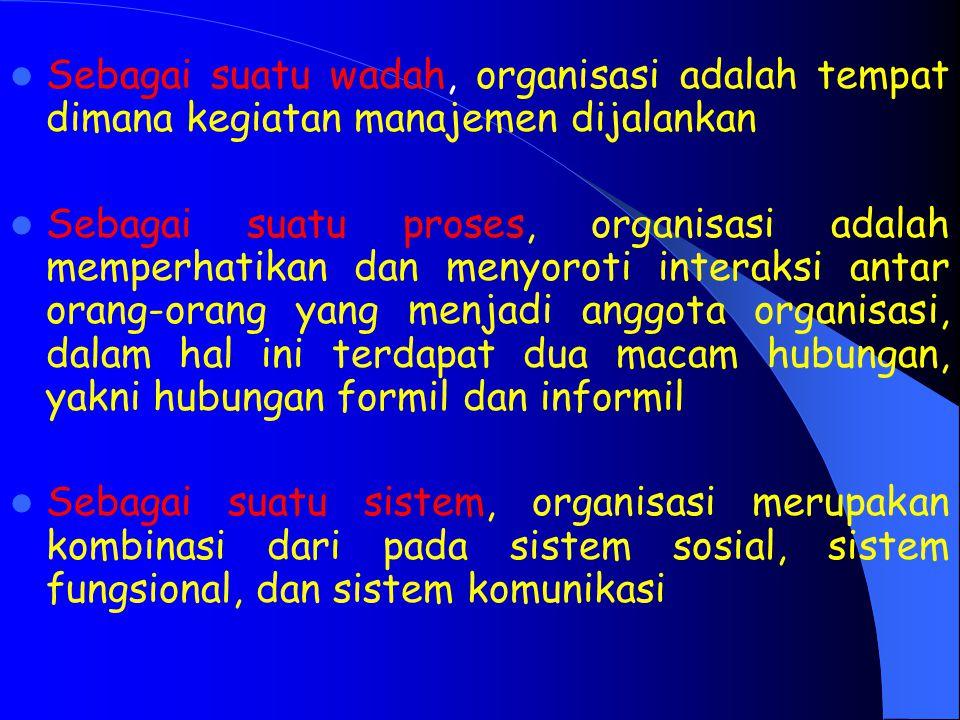 Sebagai suatu wadah, organisasi adalah tempat dimana kegiatan manajemen dijalankan Sebagai suatu proses, organisasi adalah memperhatikan dan menyoroti interaksi antar orang-orang yang menjadi anggota organisasi, dalam hal ini terdapat dua macam hubungan, yakni hubungan formil dan informil Sebagai suatu sistem, organisasi merupakan kombinasi dari pada sistem sosial, sistem fungsional, dan sistem komunikasi