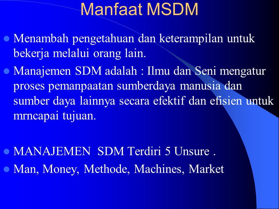 Manajemen SDM Adalah : Ilmu dan seni mengatur hubungan dan peran tenaga kerja agar efektif dan efisien membantu terwujudnya tujuan perusahaan. FUNGSIN