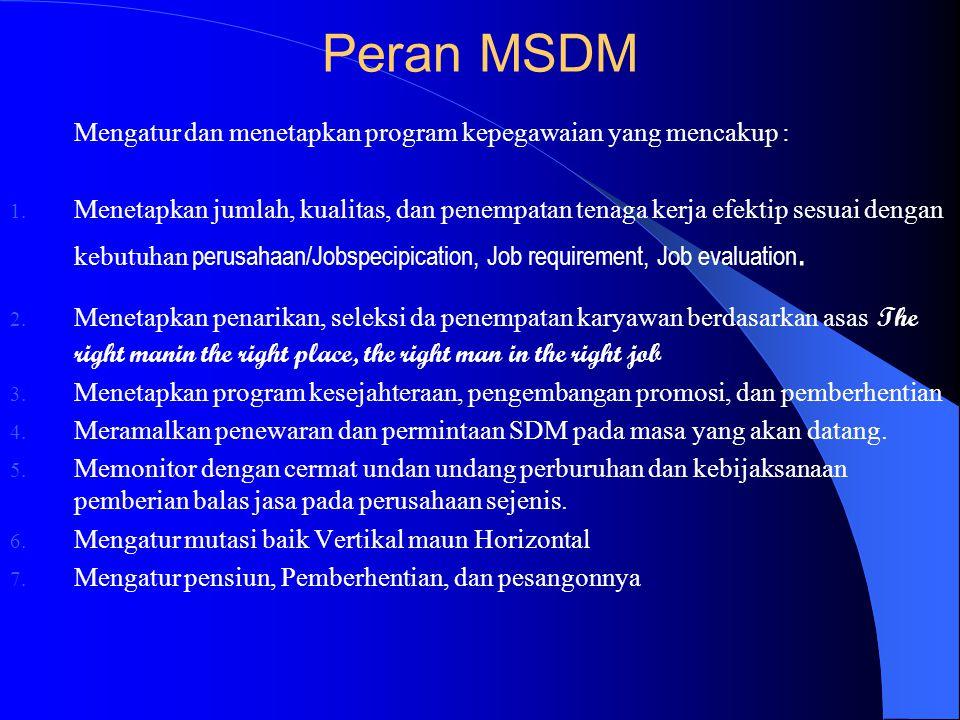 Manfaat MSDM Menambah pengetahuan dan keterampilan untuk bekerja melalui orang lain. Manajemen SDM adalah : Ilmu dan Seni mengatur proses pemanpaatan