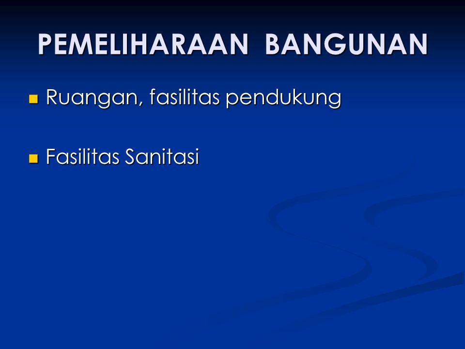 PEMELIHARAAN BANGUNAN Ruangan, fasilitas pendukung Ruangan, fasilitas pendukung Fasilitas Sanitasi Fasilitas Sanitasi