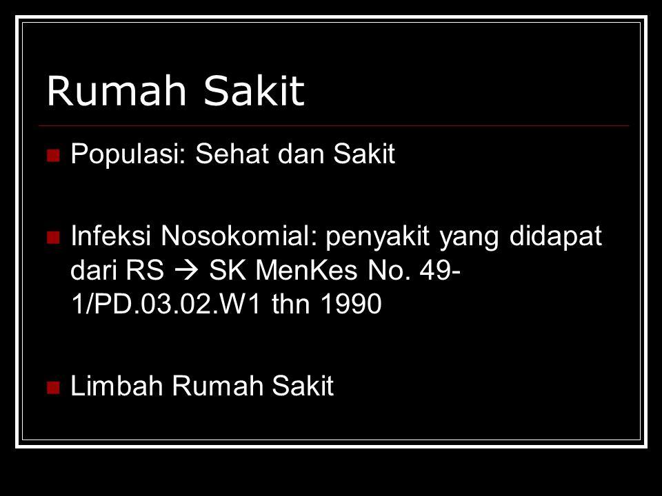 Rumah Sakit Populasi: Sehat dan Sakit Infeksi Nosokomial: penyakit yang didapat dari RS  SK MenKes No.
