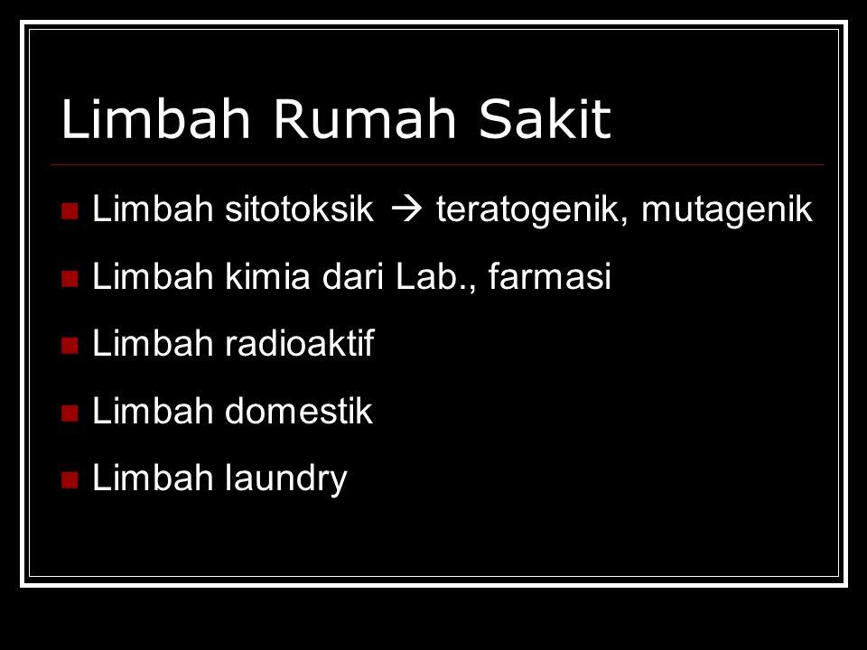 Limbah Rumah Sakit Limbah sitotoksik  teratogenik, mutagenik Limbah kimia dari Lab., farmasi Limbah radioaktif Limbah domestik Limbah laundry