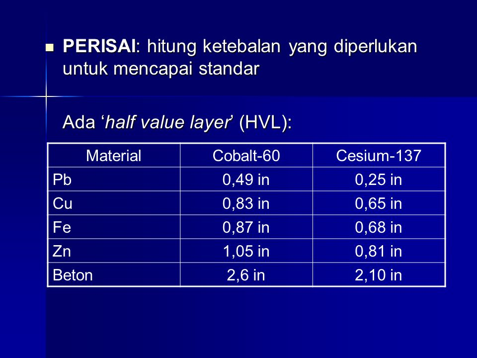 PERISAI: hitung ketebalan yang diperlukan untuk mencapai standar PERISAI: hitung ketebalan yang diperlukan untuk mencapai standar Ada 'half value layer' (HVL): MaterialCobalt-60Cesium-137 Pb0,49 in0,25 in Cu0,83 in0,65 in Fe0,87 in0,68 in Zn1,05 in0,81 in Beton2,6 in2,10 in
