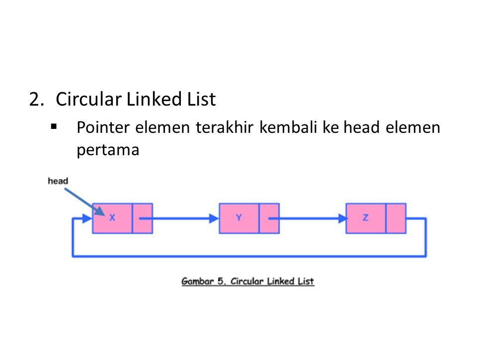 2.Circular Linked List  Pointer elemen terakhir kembali ke head elemen pertama