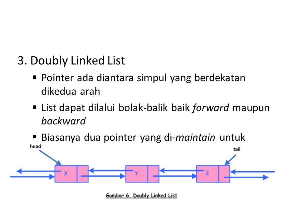 3. Doubly Linked List  Pointer ada diantara simpul yang berdekatan dikedua arah  List dapat dilalui bolak-balik baik forward maupun backward  Biasa