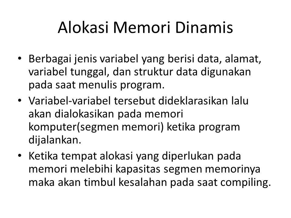 Alokasi Memori Dinamis Berbagai jenis variabel yang berisi data, alamat, variabel tunggal, dan struktur data digunakan pada saat menulis program. Vari
