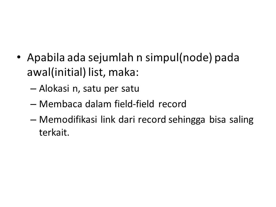 Apabila ada sejumlah n simpul(node) pada awal(initial) list, maka: – Alokasi n, satu per satu – Membaca dalam field-field record – Memodifikasi link d