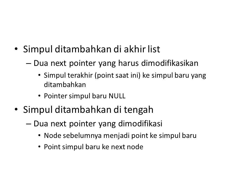 Simpul ditambahkan di akhir list – Dua next pointer yang harus dimodifikasikan Simpul terakhir (point saat ini) ke simpul baru yang ditambahkan Pointe