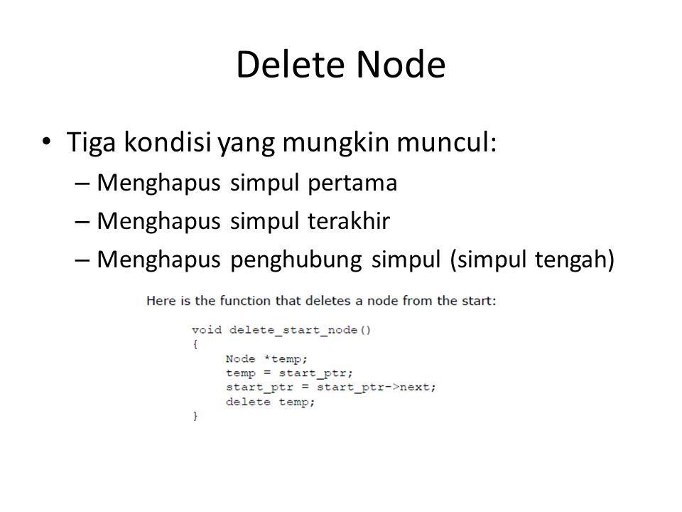Delete Node Tiga kondisi yang mungkin muncul: – Menghapus simpul pertama – Menghapus simpul terakhir – Menghapus penghubung simpul (simpul tengah)