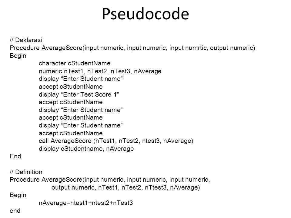 Pseudocode // Deklarasi Procedure AverageScore(input numeric, input numeric, input numrtic, output numeric) Begin character cStudentName numeric nTest