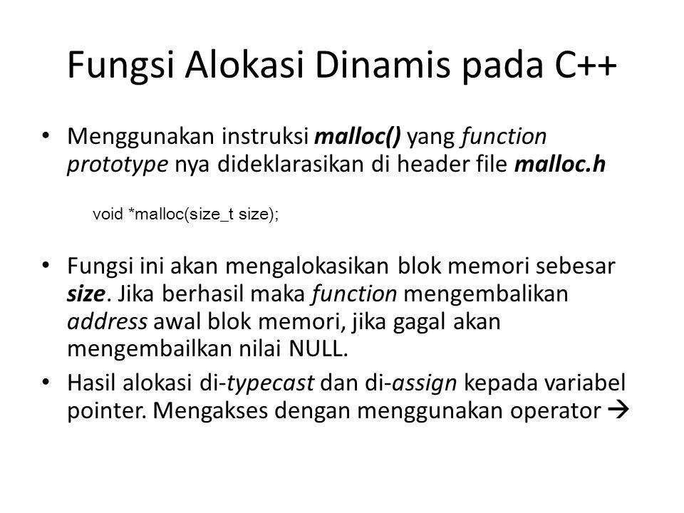 Fungsi Alokasi Dinamis pada C++ Menggunakan instruksi malloc() yang function prototype nya dideklarasikan di header file malloc.h Fungsi ini akan meng