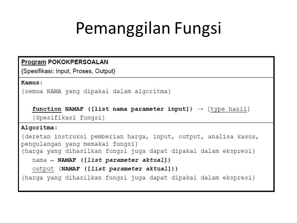 Pemanggilan Fungsi
