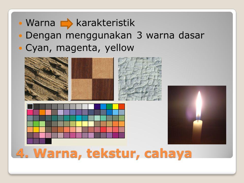 4. Warna, tekstur, cahaya Warna karakteristik Dengan menggunakan 3 warna dasar Cyan, magenta, yellow