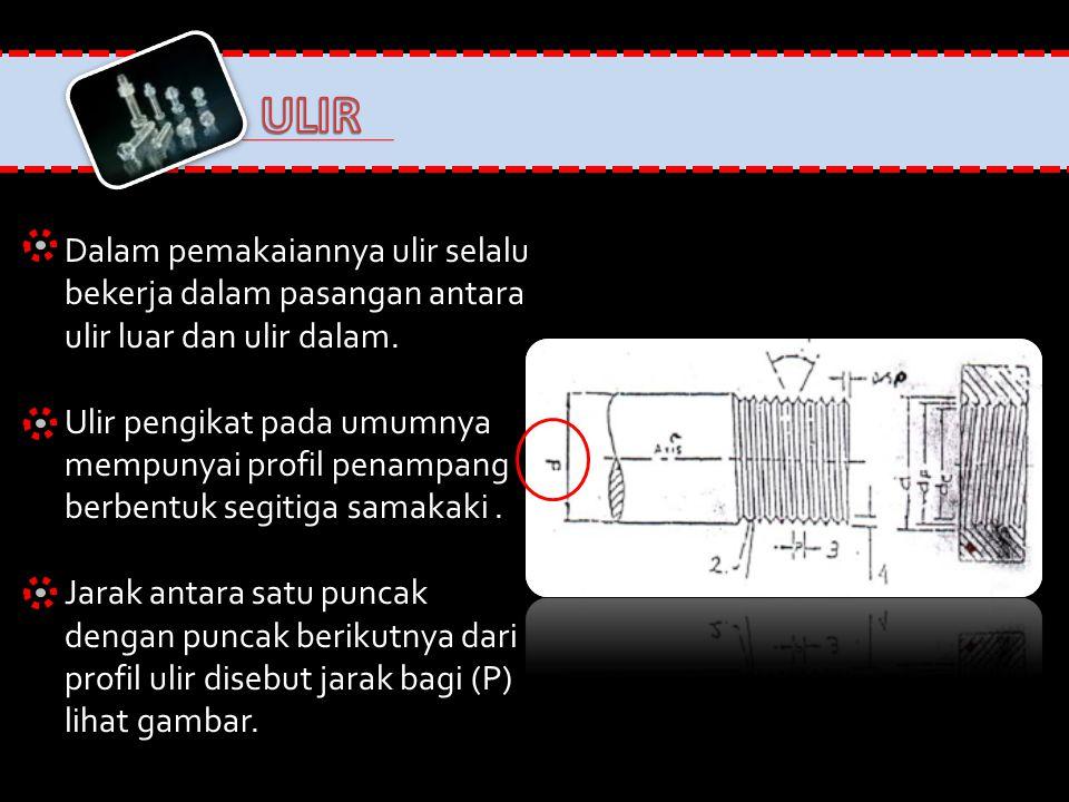 Keterangan gambar: D = diameter terbesar ulir luar (ulir baut) atau diemeter terbesar dari ulir dalam (ulir Mur) Dc = diameter paling kecil dari ulir luar (ulir baut) atau diameter terkecil dari ulir dalam (ulir mur).