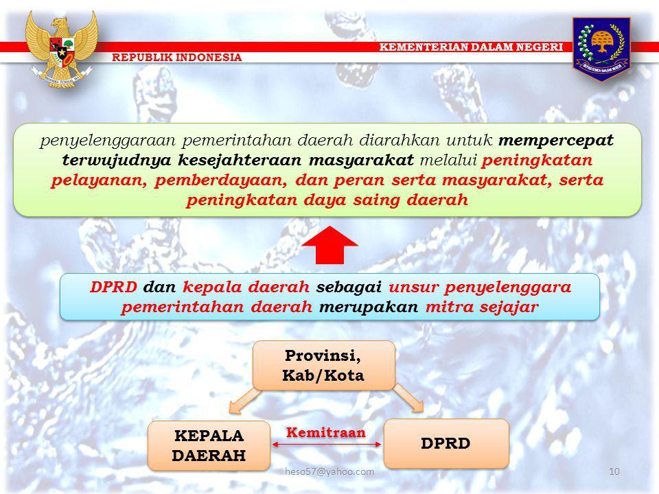 KEMENTERIAN DALAM NEGERI REPUBLIK INDONESIA DPRD dan kepala daerah sebagai unsur penyelenggara pemerintahan daerah merupakan mitra sejajar DPRD KEPALA