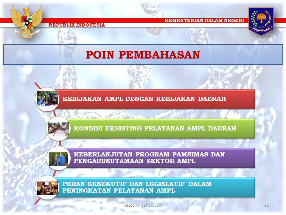 KEMENTERIAN DALAM NEGERI REPUBLIK INDONESIA POIN PEMBAHASAN KEBIJAKAN AMPL DENGAN KEBIJAKAN DAERAH KONDISI EKSISTING PELAYANAN AMPL DAERAH KEBERLANJUT