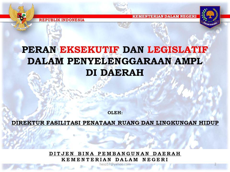 KEMENTERIAN DALAM NEGERI REPUBLIK INDONESIA KONDISI EKSITING PELAYANAN AMPL (2) Rata-rata Capaian Alokasi APBD Dalam Program Pamsimas Jumlah data lengkap 201264 kab/kota Jumlah data lengkap 201186 kab/kota Berdasarkan SIM Pamsimas 2011 dan SIM 2012: Rata-rata % realisasi pengeluaran AMPL pada APBD 20092% Rata-rata % realisasi pengeluaran AMPL pada APBD 20101.7%-1.9% Rata-rata % realisasi pengeluaran AMPL pada APBD 20115,90% Sumber : Monitoring Information System (MIS) PAMSIMAS 23heso57@yahoo.com