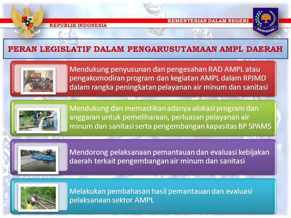 KEMENTERIAN DALAM NEGERI REPUBLIK INDONESIA PERAN LEGISLATIF DALAM PENGARUSUTAMAAN AMPL DAERAH Mendukung penyusunan dan pengesahan RAD AMPL atau penga
