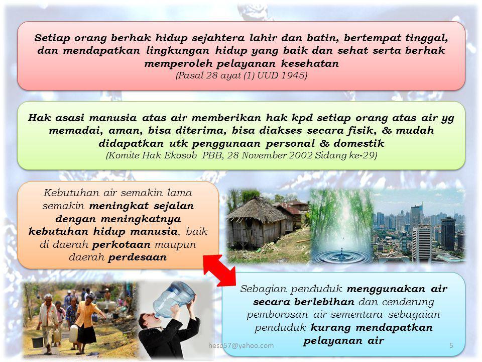 KEMENTERIAN DALAM NEGERI REPUBLIK INDONESIA Badan Pusat Statistik (BPS) 2013 akses masyarakat Indonesia pada air minum baru mencapai 67,7% Tersedianya universal access atau cakupan akses sebesar 100% untuk air minum dan juga sanitasi (Teknokratik RPJMN 2015-2019) 6heso57@yahoo.com