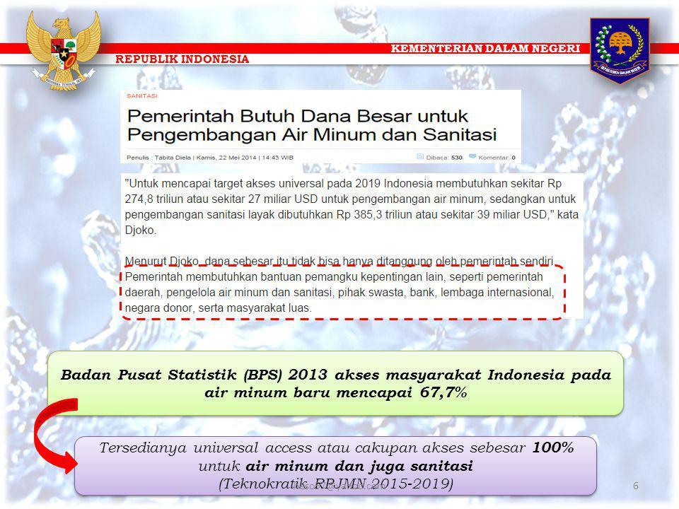 KEMENTERIAN DALAM NEGERI REPUBLIK INDONESIA Badan Pusat Statistik (BPS) 2013 akses masyarakat Indonesia pada air minum baru mencapai 67,7% Tersedianya