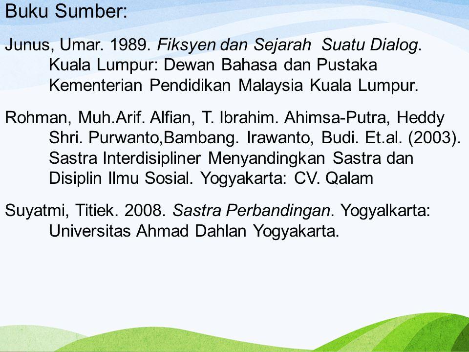 Buku Sumber: Junus, Umar.1989. Fiksyen dan Sejarah Suatu Dialog.