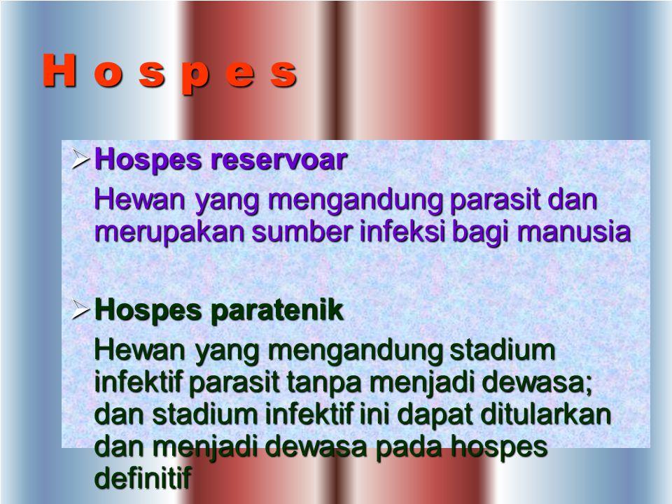 H o s p e s Menurut macam nya hospes dibagi :  Hospes definitif Hospes tempat parasit hidup, tumbuh menjadi dewasa dan berkembang biak secara seksual