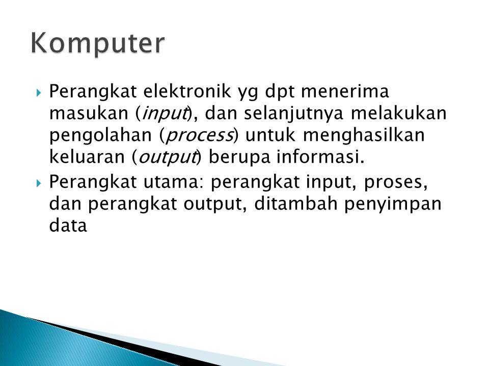  Perangkat elektronik yg dpt menerima masukan (input), dan selanjutnya melakukan pengolahan (process) untuk menghasilkan keluaran (output) berupa inf