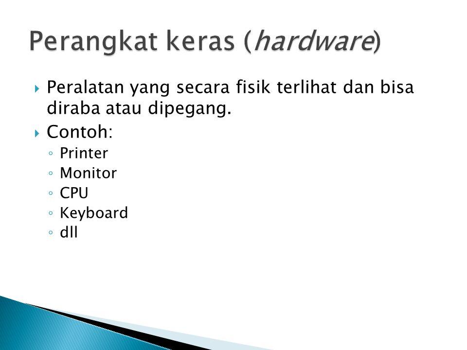  Peralatan yang secara fisik terlihat dan bisa diraba atau dipegang.  Contoh: ◦ Printer ◦ Monitor ◦ CPU ◦ Keyboard ◦ dll