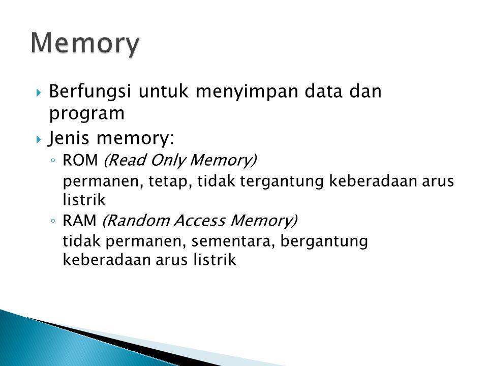  Berfungsi untuk menyimpan data dan program  Jenis memory: ◦ ROM (Read Only Memory) permanen, tetap, tidak tergantung keberadaan arus listrik ◦ RAM